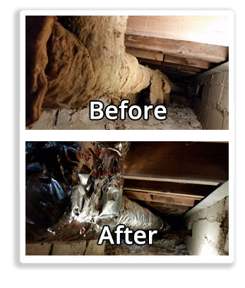 crawl space before and after Duct Squads duct sealing service
