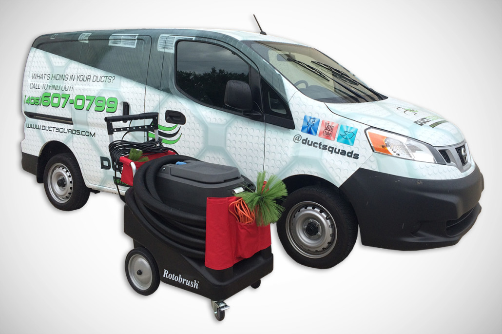 Duct Squads company van and rotobrush air duct cleaner