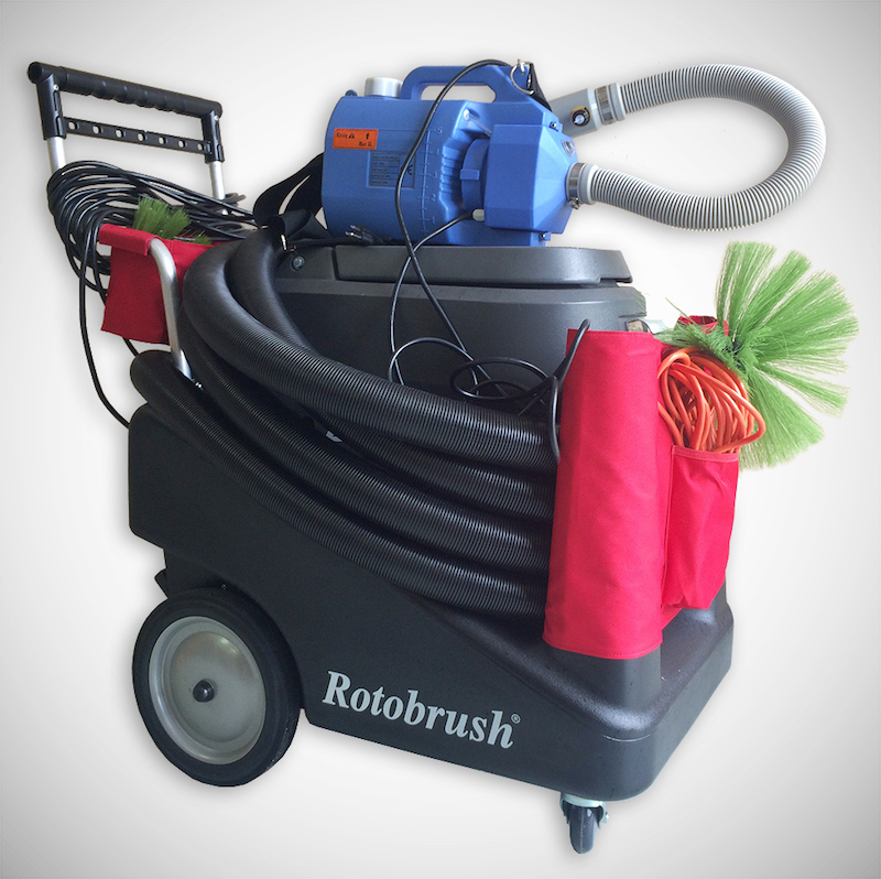 Rotobrush duct cleaning machine