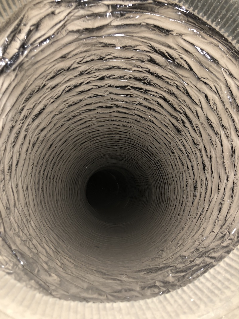 inside view of a new, clean air duct after installation - What air ducts should look like.